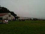 Lunch on the grass...looking at the fogged in GG